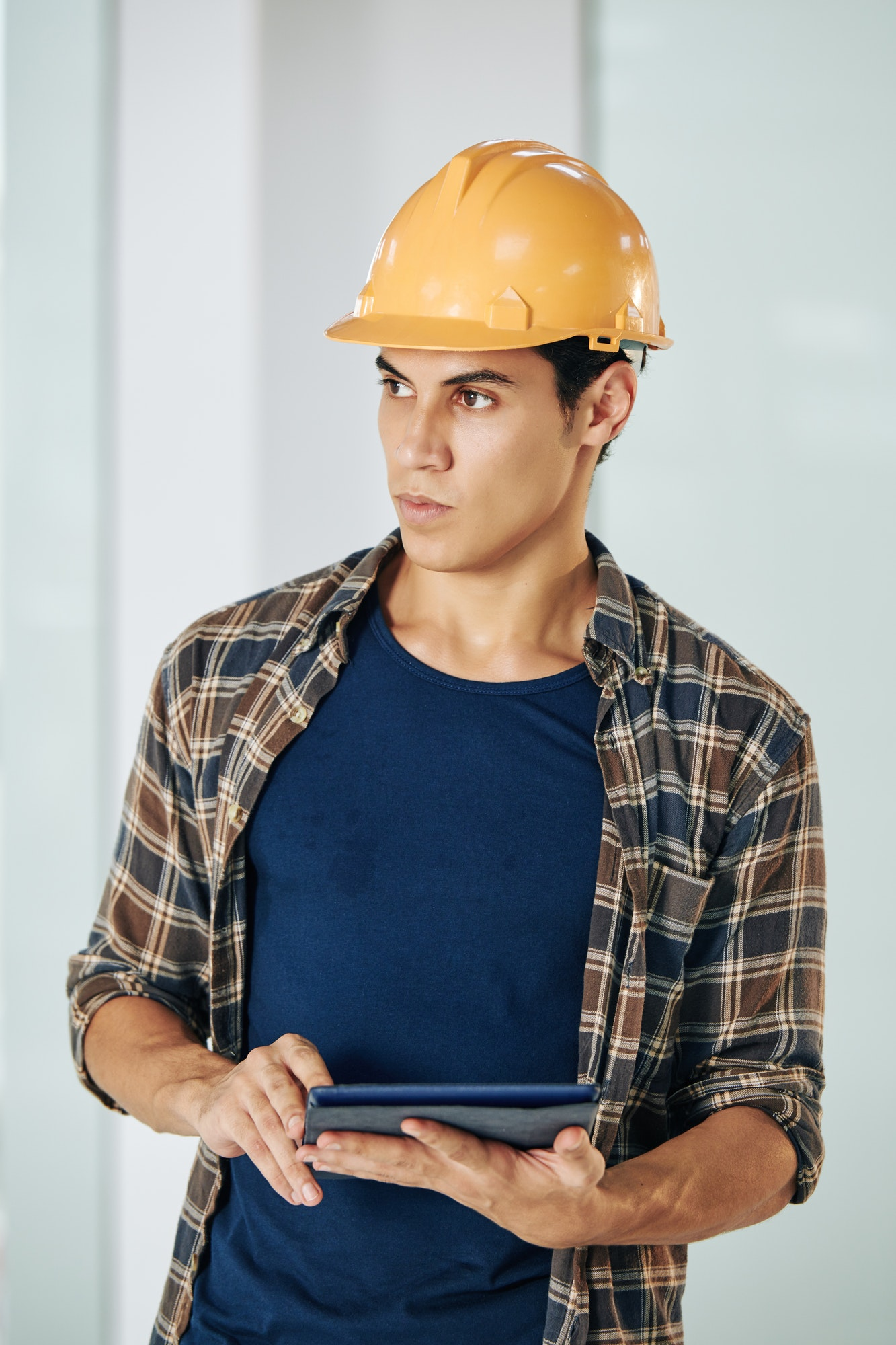 Civil engineer with digital tablet