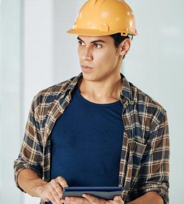 Civil engineer with digital tablet